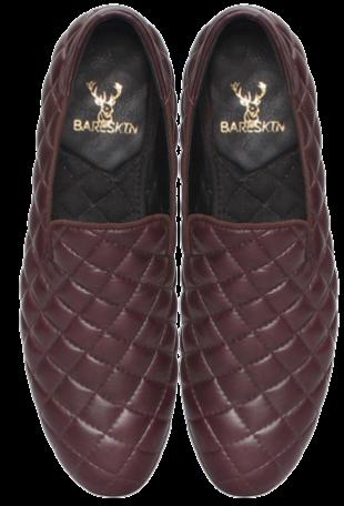 New Sleek Shape Wine Diamond Stitched Lamb Leather Slip-On Shoes - StyleCracker