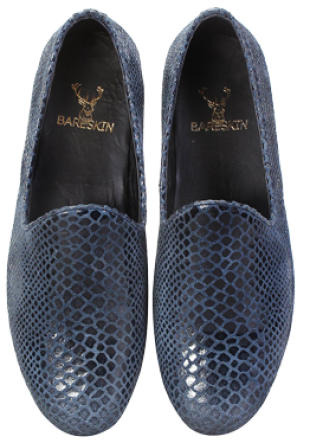 Blue Snake Print Leather Silp-On By Bareskin - StyleCracker
