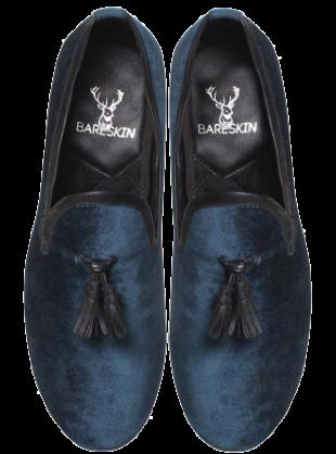 Bareskin Blue Velvet / Leather Tassel Slip-On Shoes - StyleCracker
