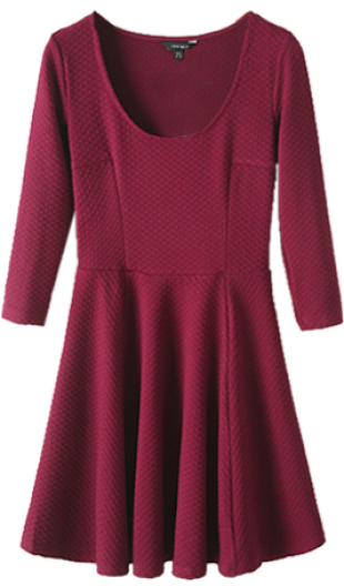 Womens Sweet Dark Red O-Neck Solid Above Knee Long Sleeve Pleated Dress  446225S33 - StyleCracker