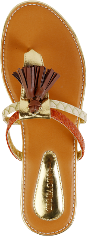 Tan and Orange Tassel Flats - StyleCracker