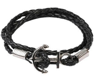 Black Anchor Cord Mens Bracelet - StyleCracker