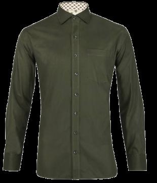 Olive Green Poplin Jaipur Floral Shirt - StyleCracker
