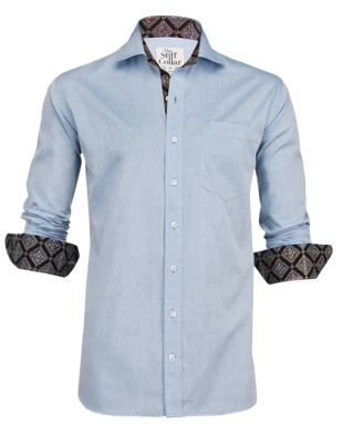 Blue Chambray Kutchi Ajrakh Shirt - StyleCracker