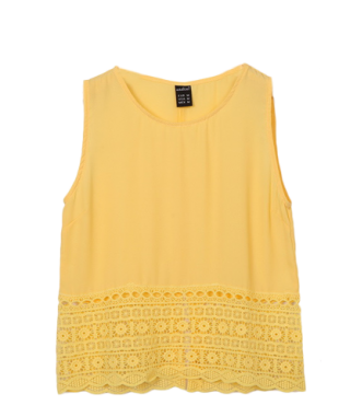 Yellow Back Split crop top - StyleCracker
