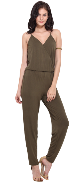 Olive Solid Jumpsuit - StyleCracker