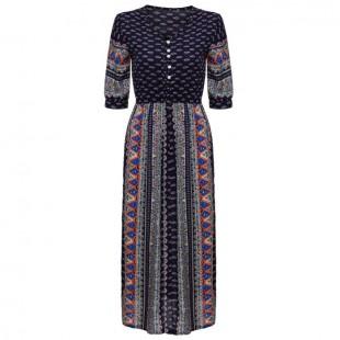 Tribal Side Slit Ankle Length Dress - StyleCracker