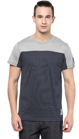 Top Panel Cut N Sew Round Neck Black And Grey Casual Tee - StyleCracker