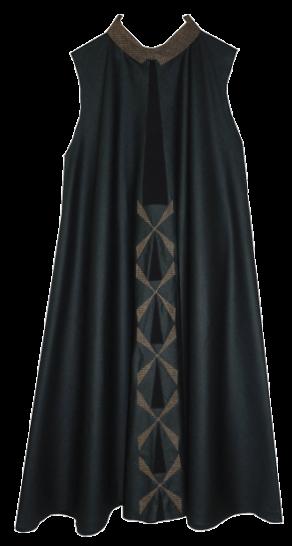 Metallic Green Windmill Flared Dress - StyleCracker