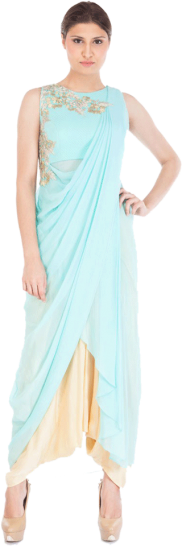 Shruti Ranka - ice Blue Sari Drape Tunic with Dhoti Pants - StyleCracker