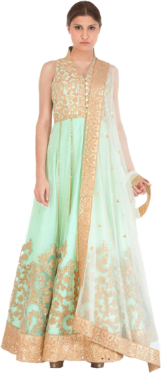 Tamanna Punjabi Kapoor - Pastel Green Anarkali with Gold Mirror Work - StyleCracker
