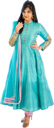 Shachi Sood - Raw Silk  with Zardozi Embroidery Blue Anarkali - StyleCracker
