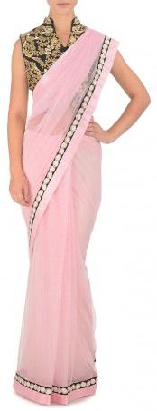 Karieshma Sarnaa - Pink Net Sari with Black Jacket Blouse - StyleCracker