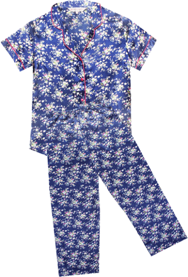 Navy Midnight Flowery Charisma All Day Lounge Top & PJ Set - StyleCracker