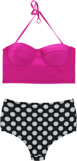 Prettysecrets Flirty Fuchsia Polka Dive High-Waist Bikini Set - StyleCracker