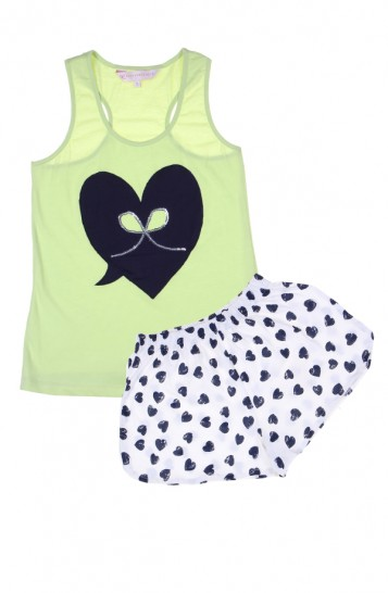 "PrettySecrets Lime Heart ""Playful-Story"" Tank Top & Shorts Set - StyleCracker"