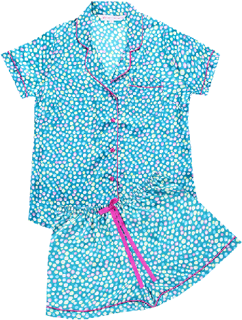 PrettySecrets Turq Forever Darling Dots Bedtime Glamour Top & Shorts Set - StyleCracker