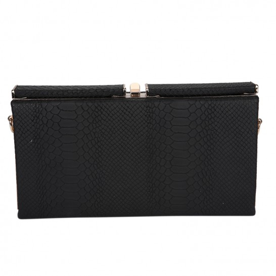 Black Mock-Croc Clutch - StyleCracker