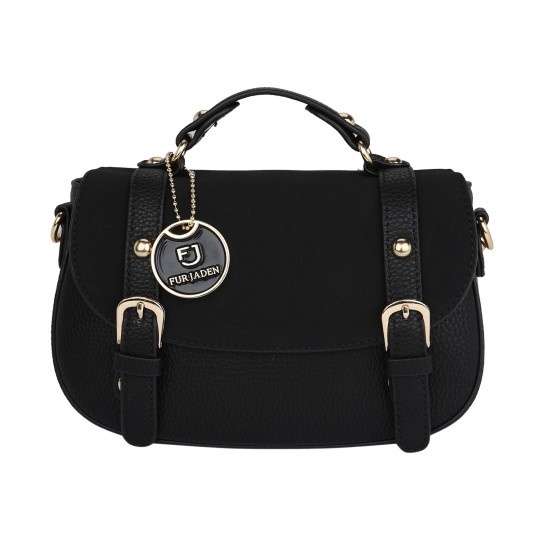 Suedette Black Saddle Bag - StyleCracker