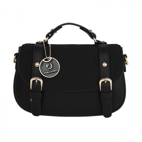 Suedette Black Saddle Bag - StyleCracker