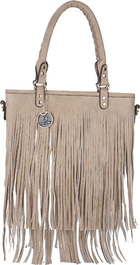 Beige Fringed Tassle Bag - StyleCracker