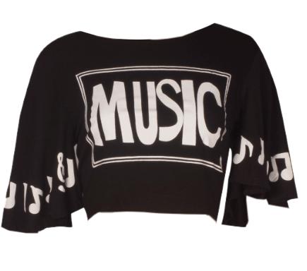MUSIC Crop Top Black - StyleCracker