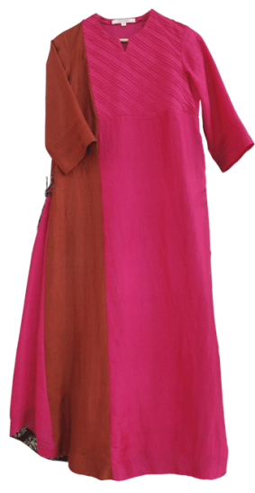 Fuschia Rust panel kurta - StyleCracker