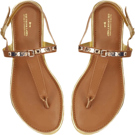 Brown Gold Detail Flats - StyleCracker