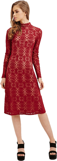 Lace Mock-Neck Midi Dress - StyleCracker