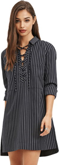 Pinstriped Lace-Up Dress - StyleCracker