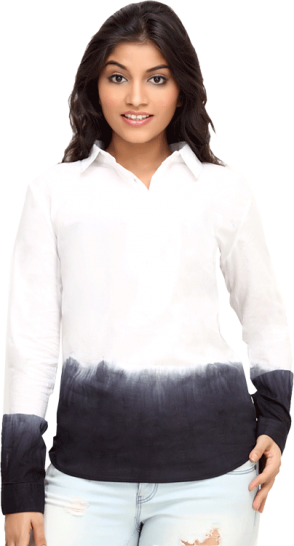 White Tonal Cotton Womens Long Sleeve Shirt CZWT0008 - StyleCracker