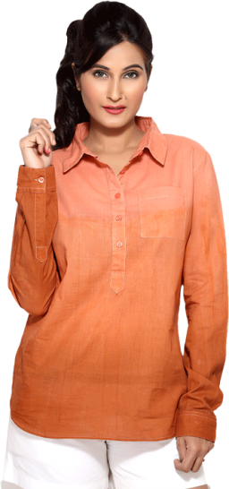 LocoEnCabeza Peach Tonal Cotton Womens Long Sleeve Shirt CZWT0006 - StyleCracker