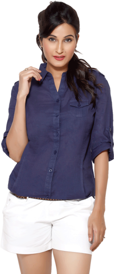 LocoEnCabeza Solid Navy Cotton Womens Long Sleeve Shirt CZWT0003 - StyleCracker
