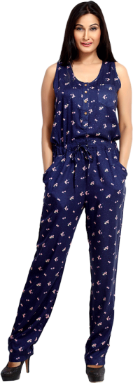 LocoEnCabeza Navy printed Rayon sleeveless Long Jumpsuit CZWJ0001 - StyleCracker