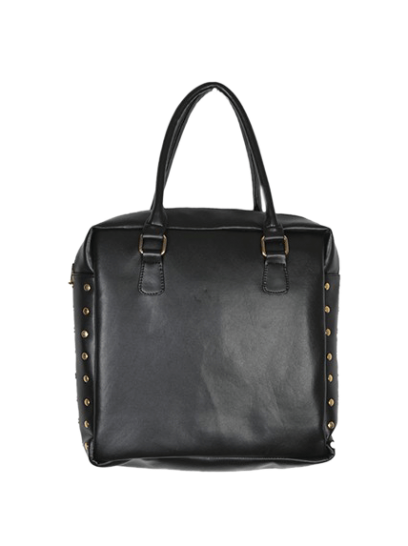 Black Side Button Tote - StyleCracker
