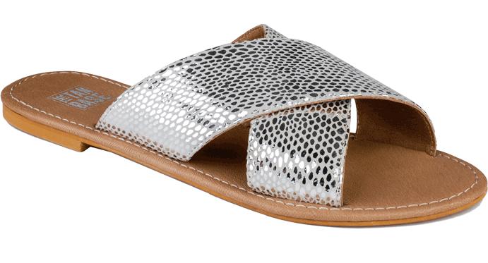 Clara Silver Cross Straps Sandals - StyleCracker