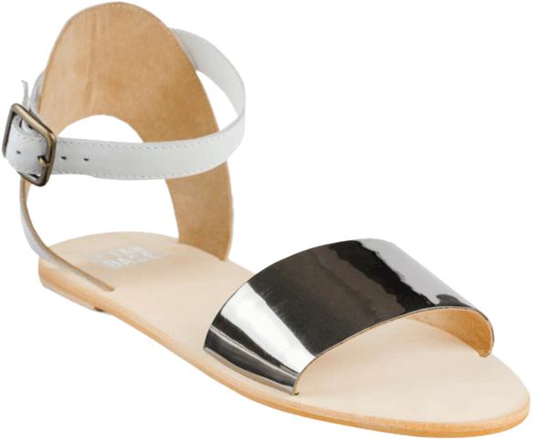 Fia ankle strap white & silver - StyleCracker