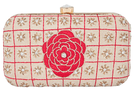 Beige Rose Embroidered Clutch - StyleCracker