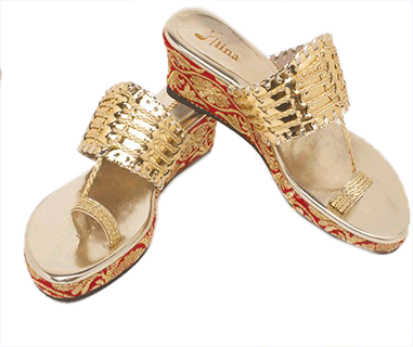 Kolhapuri Wedges with Red and Gold Embroidery - StyleCracker