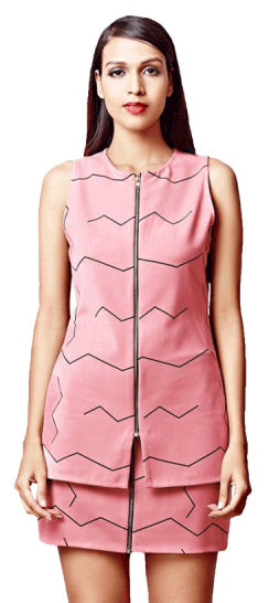 Zig Zag Zipper Top (Pink) - StyleCracker