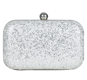 Silver White Glitter Box Clutch - StyleCracker