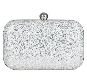 Silver White Glitter Box Clutch - StyleCracker