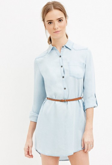 Belted Chambray Shirt Dress - StyleCracker