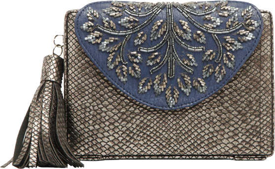 Blue Beaded Clutch - StyleCracker