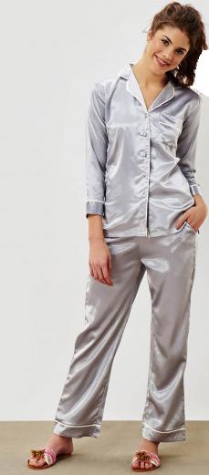 Grey Satin Sleep Set - StyleCracker