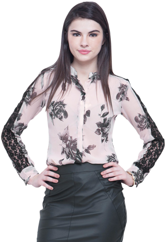 Lace Sleeves Shirt - Blush Floral - StyleCracker