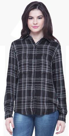 Checkered Boyfriend Shirt - Black - StyleCracker