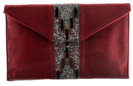Dark Red Beaded Clutches - StyleCracker