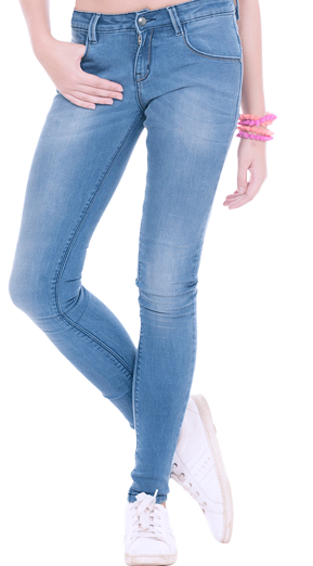 Distressed Skinny Jeans - Mid Blue - StyleCracker