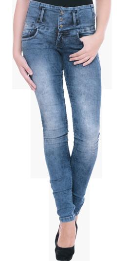 High-Rise Skinny Jeans - Mid Blue - StyleCracker